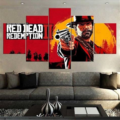 Red Dead Redemption 2 Background – Gaming 5 Panel Canvas