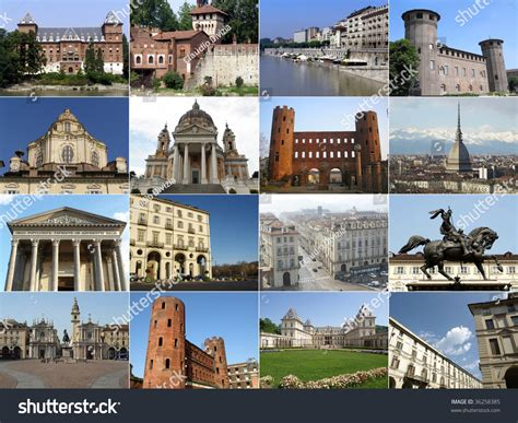 Turin Landmarks Collage Including Ancient Baroque Stock