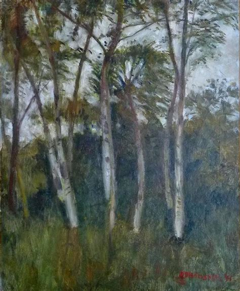 Otto Modersohn - Birch trees, oil painting by famous