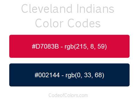 Cleveland Indians Colors - Hex and RGB Color Codes