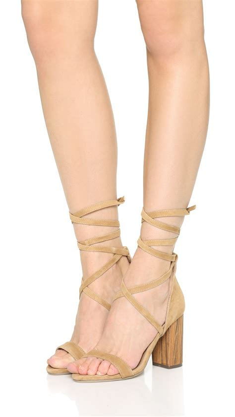 Lyst - RAYE Layla Lace Up Sandals in Natural